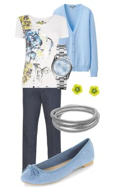 CLWO: Periwinkle Blue, silver, peridot yellow and dark grey combo work outfit Periwinkle Blue, Green Peridot, Dark Grey, Birthstones, Design Inspiration, Yellow, Clothing, Silver, Outfits