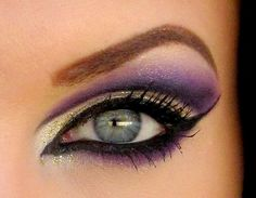 i'm a sucker for purple eye make up. this is perfect. too much eyeliner but i love the colors. Gold Smokey Eye, Smoky Eyes, Love Makeup, Makeup Tips, Makeup Looks, Makeup Ideas, Fancy Makeup, Awesome Makeup, Gorgeous Makeup
