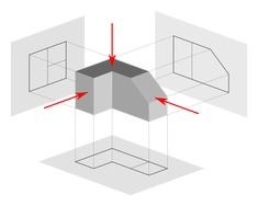 Orthographic drawing (first angle projection) Orthographic Projection, Orthographic Drawing, Autocad, Drawing Skills, Drawing Techniques, Drawing Tips, Isometric Sketch, Isometric Drawing Exercises, Interesting Drawings