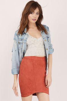 Little Secret Suede Curved Hem Skirt