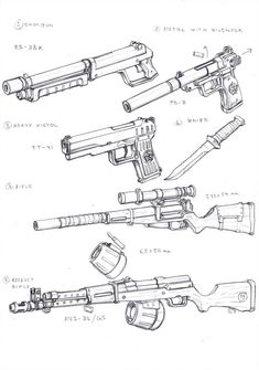 Specnaz Weapons 1 by TugoDoomER on DeviantArt Drawing Techniques, Drawing Tips, Drawing Sketches, Drawings, Drawing Ideas, Anime Weapons, Ninja Weapons, Weapon Concept Art, Drawing Reference Poses