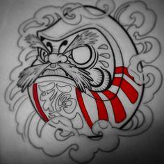 Daruma Doll Tattoo, Hannya Tattoo, Japanese Tattoo Designs, Japanese Sleeve Tattoos, Sharpie Tattoos, Hand Tattoos, Tatuaje Tengu, Dragon Eye Drawing, Dedication Tattoos