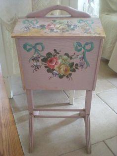 vintage tole sewing basket