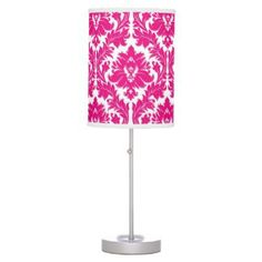 Shop Hot Pink Damask Table Lamp created by pattern_boutique. Pink Damask, Cheap Shopping, Pink Nation, Incandescent Light Bulb, Rice Paper, Lamp Shades, Beautiful Homes, Original Artwork, Personalized Gifts