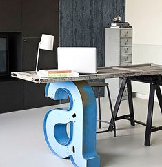 Industrial desk with letter leg