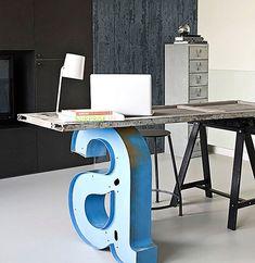 Industrial desk with letter leg