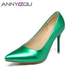 ANNYMOLI Women Shoes Thin High Heels Lady Wedding Shoes Women Elegant Shoes  Pink 2018 New Large Size 33-46 Ladies Pumps Green Price  37.24   FREE  Shipping   ... 45502776dbd1