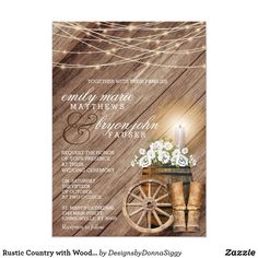 Shop Beautiful Rustic Wood Barrel and White Floral Invitation created by DesignsbyDonnaSiggy. Personalize it with photos & text or purchase as is! Beautiful Wedding Invitations, Floral Wedding Invitations, Wedding Invitation Templates, Zazzle Invitations, Birthday Invitations, Shower Invitations, Floral Invitation, White String Lights