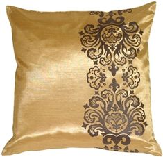 Gold with Brown Baroque Scroll Throw Pillow from Pillow Decor – brown accent pillow