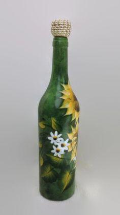 Sunflowers Wine Bottle Hand Painted Wine Bottle by RosBelTreasures