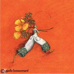 """Gaelle Boissonnard: Greeting Cards and more.: Flower: """"Poppies"""" postcard by Gaelle Boissonnard Marie Cardouat, Illustrator, Art Carte, Peacock Art, Art Et Illustration, Art Moderne, Jolie Photo, Whimsical Art, Love Art"""