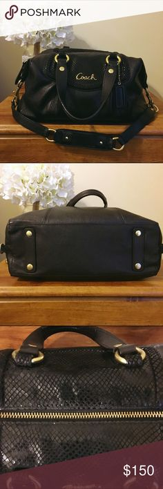 Coach handbag Black Coach handbag with gold hardware in excellent condition. Used for a short time. Minimal wear on exterior.  No signs of wear on interior. Coach Bags Shoulder Bags