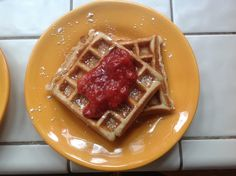 Wholesome Chow Blog: GF Vegan Belgium Waffles with Fresh Strawberry Compote