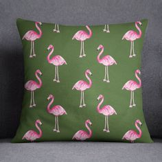 S4Sassy Decorative Olive Green Flamingo Printed Pillow Cover Throw Pillow Case