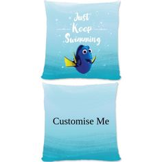 """This Fantastic Disney Pixar Finding Dory 'Just Keep Swimming' official cushion is fully licensed and is perfect for any dedicated Disney fan. Your personalisation is merged with the stylish design and is printed onto the 18"""" x 18"""" (45cm x 45cm) brushed poly fibre cushion using the latest sublimation technology. The edge to edge design is printed on both sides and is finished with an invisible zip."""