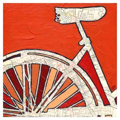 Bike Nashville archival print of original map painting