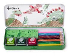 Worldwide Co Dinosaur Finger Print Art Set | Finger Print Art and Stamp Sets