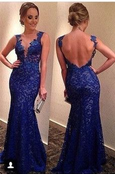 Custom Royal Blue Floor Length Short Sleeves Sexy Long Lace Prom Dress With Open Back