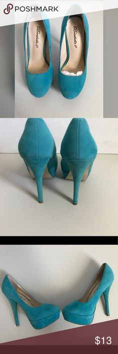 """Turquoise faux suede heels Stylish pump heels featuring all over faux suede almond shaped toe, smooth lining, and cushioned footbed. Worn a few times. Some staining as pictured above.  Ⓜ️About 6"""" heels Ⓜ️Size 6  📥Feel free to ask questions or requests additional photos  📥Will consider reasonable offers  🚫 No trades Breckelles Shoes Heels"""