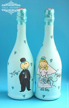 """Купить Свадебное шампанское """"Just Married"""". Роспись - свадебное шампанское, свадебные аксессуары, шампанское на свадьбу"""