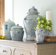 Blue and White Chinese Porcelain Vases & Ginger Jars - Driven by Decor