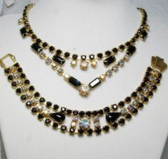 Vintage Jet Black Glass Aurora Borealis  Rhinestone Necklace & Bracelet ~Demi