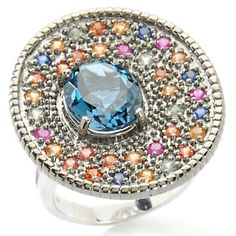 "Sima K 5.11ct London Blue Topaz and Multi-gemstone ""Tucson"" Sterling Silver Ring"
