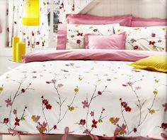 Custom King Size Pastel Pink Red  and Yellow  by MyveraLinen, $150.00
