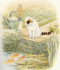 """Beatrix Potter's 'The Tale of Peter Rabbit' (1902). """"Peter came to a pond where Mr.McGregor filled his water-cans. A white cat was staring at some gold-fish."""""""