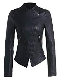 Beninos Womens Faux Leather Zip Up Moto Biker Jacket Outerwear Women, Outerwear Jackets, Coats For Women, Clothes For Women, Studded Collar, Perfect Wardrobe, Down Parka, Collar Styles, Leather Jackets