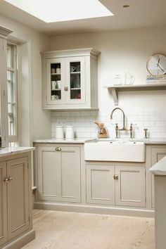 Neutral taupe kitchen cabinets