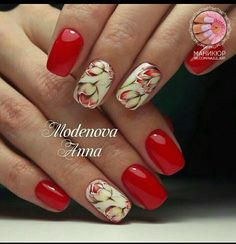 Manicure March 8 (new photo Short Nail Manicure, Shellac Nails, Red Nails, Hair And Nails, Cute Nails, Pretty Nails, Gel Nagel Design, Nagellack Trends, Floral Nail Art