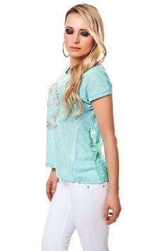 Shirt Spitze Zipper & Nieten Applikation