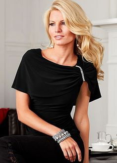 black (BK) jeweled detail top  $32     The jewel details on this sensational top will add sparkle to any affair. · 95% Poly, 5% spandex   · Made in USA  · Style #Z14015