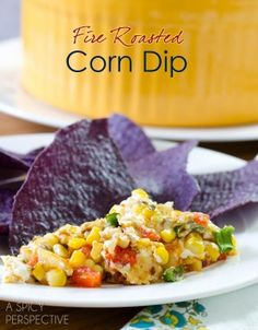 Cheesy Fire Roasted Corn Dip | ASpicyPerspective.com #dip #party