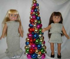 """Sparkling Evening Gown  Knitting Patterns for 18"""" Dolls.  Easy knitting patterns from Frugal Knitting Haus. Sparkling Evening Gown, capelet, mini skirt and top. Use sport weight glitter yarns, needles # 6 and # 8. Available as hard copy booklet or as eBook.  $4.95"""