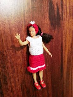 Red and white Lammily outfit. Dolls skirt top and by GrannyJack