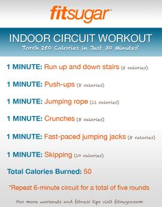 Indoor circuit workout! All you need is some space, a jump rope, and some stairs.