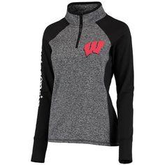 Wisconsin Badgers Women's Finalist Quarter-Zip Pullover Jacket - Gray/Black