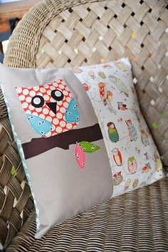 owl pillow -- owl is on a gray background, but is very patterned. Something to keep in mind for future crafts.