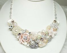 Blush Bridal Bib Necklace- Blush Statement Necklace- Bridesmaid bib- Champagne Pink Necklace- Rhinestone and Pearl Bib Necklace- Wedding bib