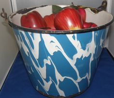 Graniteware Water Pail  Blue and White