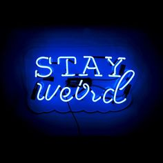 Blue Aesthetic Discover The Oliver Gal Artist Co. 20 in. W x 12 in. H Neon Art Oliver Gal Stay Weird Plug-in Lighted Sign - The Home Depot Neon Azul, Neon Bleu, Blue Aesthetic Grunge, Blue Aesthetic Pastel, Mint Aesthetic, Neon Wallpaper, Blue Wallpapers, Blue Neon Lights, Everything Is Blue
