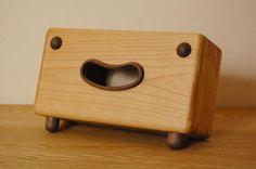 Wooden Tissue Boxes With Cute 'Facial Expressions' - DesignTAXI.com