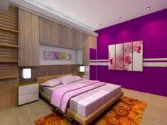 Bedroom, Cool Bedroom Design For Women In Their 20s With Purple Color Schemes…