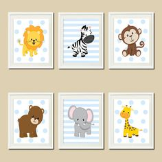 JUNGLE Nursery Wall Art ELEPHANT Giraffe door LovelyFaceDesigns