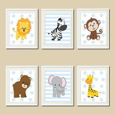 JUNGLE Nursery Wall Art ELEPHANT Giraffe door LovelyFaceDesigns