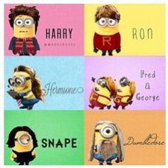 Minions in Harry Potter! two of my most favorite things. Minions and Harry Potter Arte Do Harry Potter, Theme Harry Potter, Harry Potter Love, Harry Potter Memes, Hogwarts, Fred And Hermione, Minions Love, Minions Minions, Minion Humor