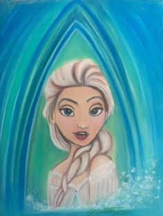 "Elsa from Disney's Frozen. Oil Pastel by Patrick Colton. March, 2014. 11x14"" on Mi-Tientes paper."