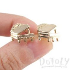 Grand Piano Shaped Music Themed Stud Earrings in Gold #Piano